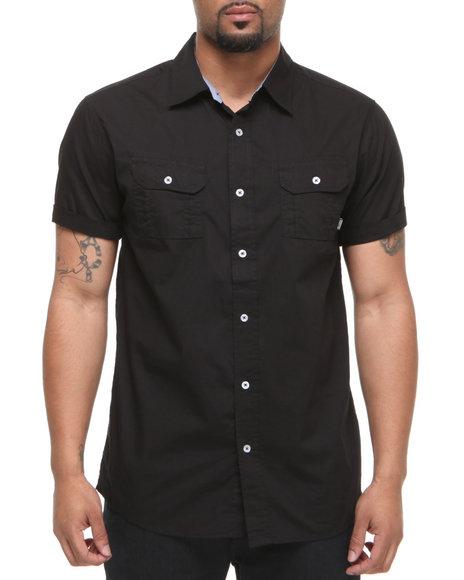 Company 81 Men Black Jon Solid S/S Button Down Shirt