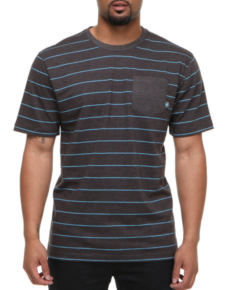 Company 81 Men Light Blue,Charcoal S/S Crew Neck Stripe W/ Solid Pocket