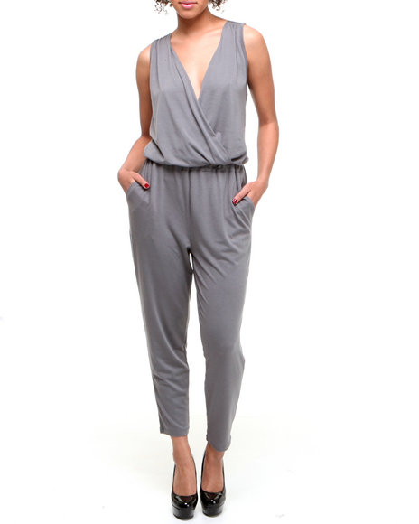 Fashion Lab Women Grey Twist Sleeveless Jumpsuit