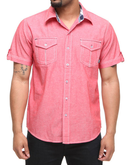 Company 81 Men Red Jett Chambray Button Down Shirt W/ Plaid Accents