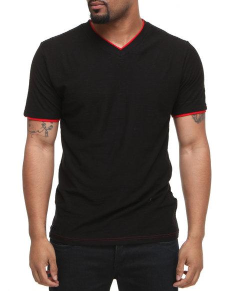 Company 81 Men Black V-Neck Tee W/ Contrast Double Layer Collar & Cuff