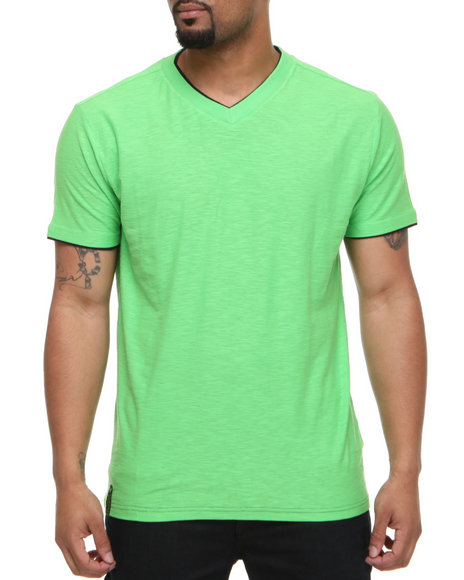 Company 81 Men Lime Green V-Neck Tee W/ Contrast Double Layer Collar & Cuff