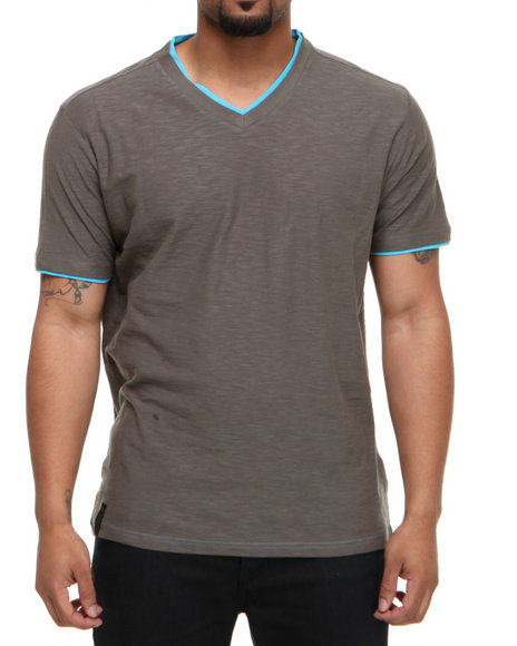 Company 81 Men Grey V-Neck Tee W/ Contrast Double Layer Collar & Cuff