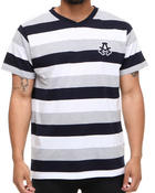 Akademiks - Streamline Striped V-neck Tee