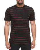 Men - S/S Crew Neck Stripe w/ solid pocket