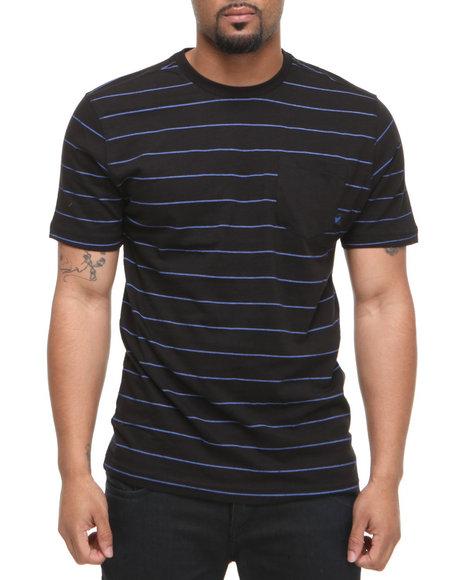 Company 81 Men Blue S/S Crew Neck Stripe W/ Solid Pocket