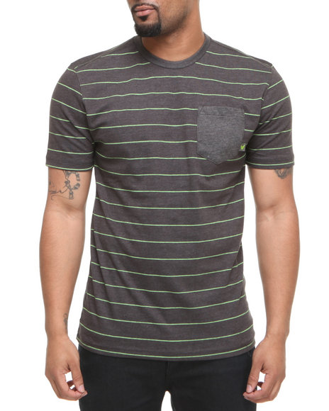 Company 81 Men Lime Green,Charcoal S/S Crew Neck Stripe W/ Solid Pocket