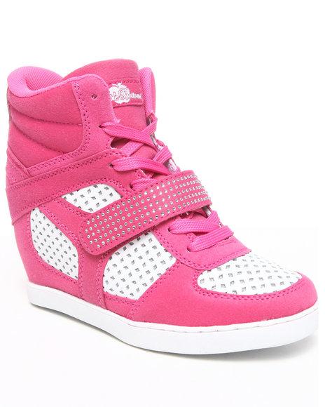 Apple Bottoms Women Pink Brayden Wedge Perforated Sneaker