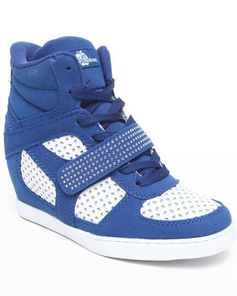 Apple Bottoms Women Blue Brayden Wedge Perforated Sneaker