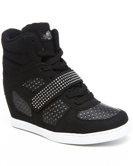 Apple Bottoms Women Black Brayden Wedge Perforated Sneaker
