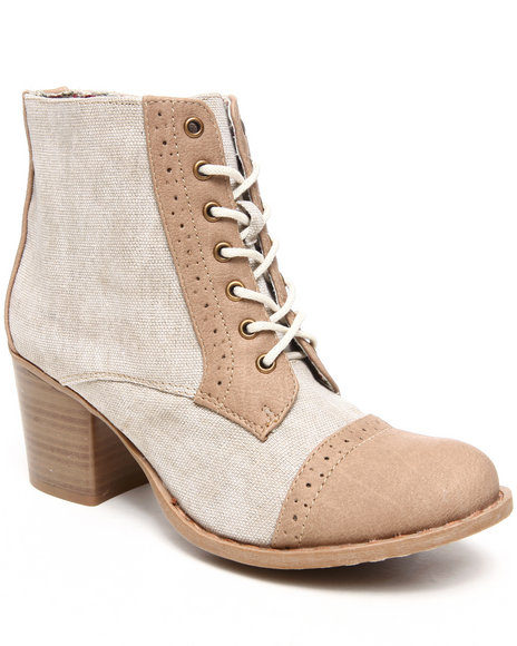 Fashion Lab - Kortnea Canvas and Vegan Leather Mix Bootie w/Side Zipper
