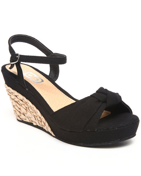 Basic Essentials Women Black Basket Weave Espedrill Upper Wedge