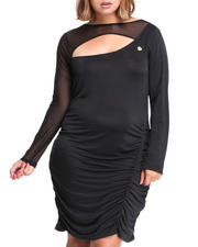 Plus Size - Mesh Trim Draped Dress (PLUS)