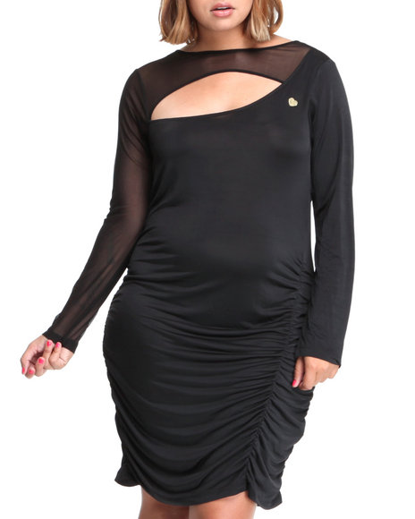 Apple Bottoms - Women Black Mesh Trim Draped Dress (Plus) - $17.99