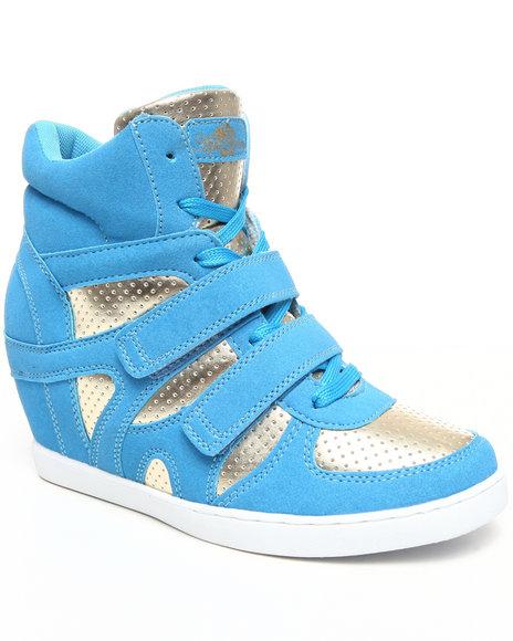 Apple Bottoms Women Blue,Gold Twinkle Wedge Sneaker