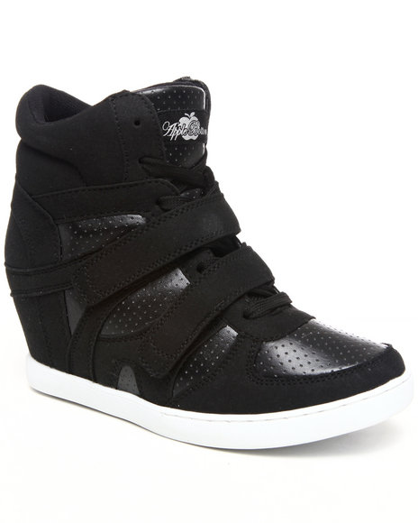 Apple Bottoms Women Black Twinkle Wedge Sneaker
