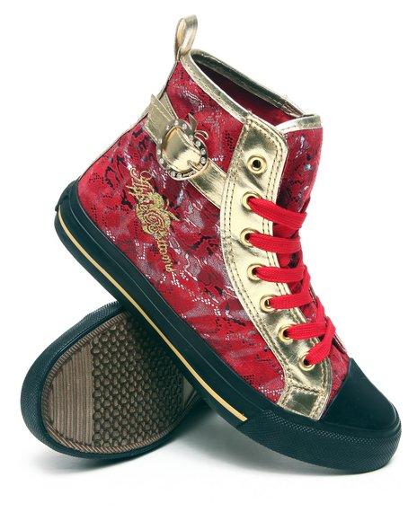 Apple Bottoms Women Red Kassey Metallic Lace Sneaker