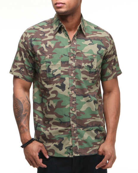 Basic Essentials Men Camo Mercenary Woven Short Sleeve Shirt