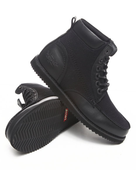 Levi's Men Black Dean Leather And Canvas Boots