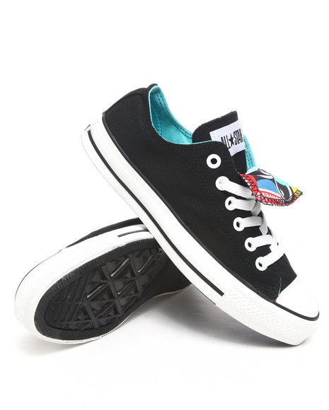 Converse Women Black Chuck Taylor All Star Double Tongue Pins Ox Sneakers