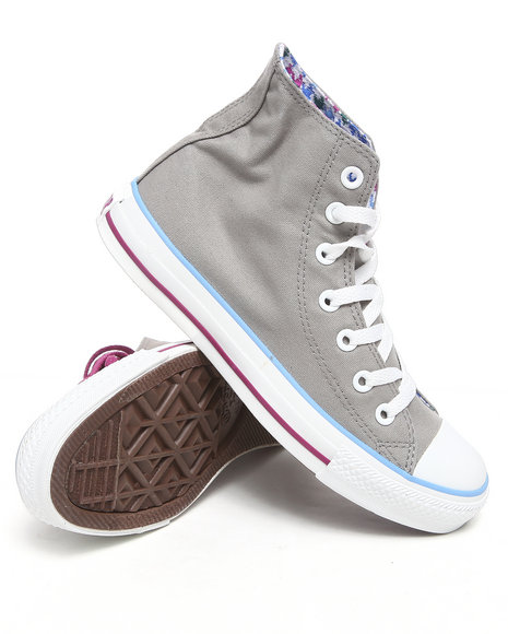 Converse Women Grey Chuck Taylor All Star Roll Down Hi Sneakers