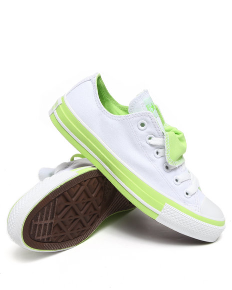 Converse Women Lime Green,White Chuck Taylor All Star Double Tongue Ox Sneakers