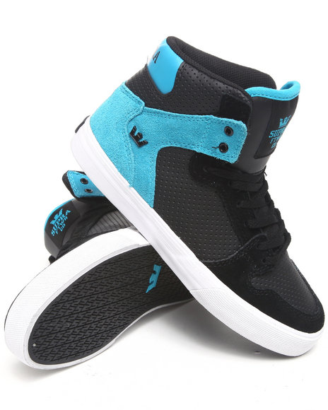 Supra Boys Black,Teal Vaider Black Nubuck/Suede Sneakers (Kids)