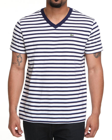 Lacoste Men Blue,White S/S V-Neck Striped Tee