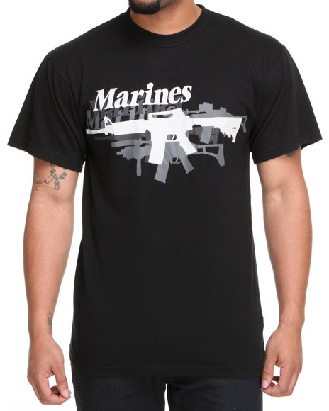 Drj Army/Navy Shop Men Black Vintage Black Marines Gun Tee