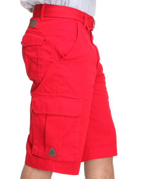 Akademiks - Men Red Camper Twill Belted Cargo Shorts