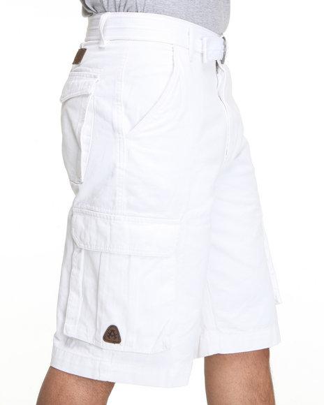 Akademiks - Men White Camper Twill Belted Cargo Shorts