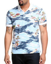 Men - L!Ve S/S Hawaiian Print Pique Polo