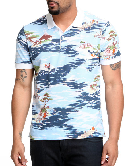 Lacoste - Men Light Blue,Multi L!Ve S/S Hawaiian Print Pique Polo