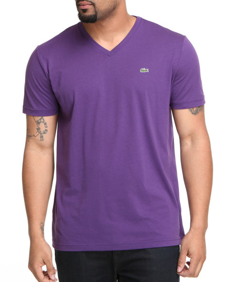Lacoste Men Purple S/S Pima Jersey V-Neck Tee