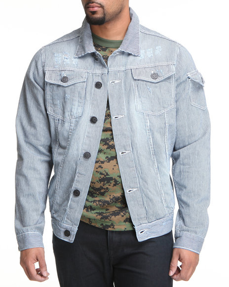 Basic Essentials - Men Dark Wash Railroad Stripe Jacket