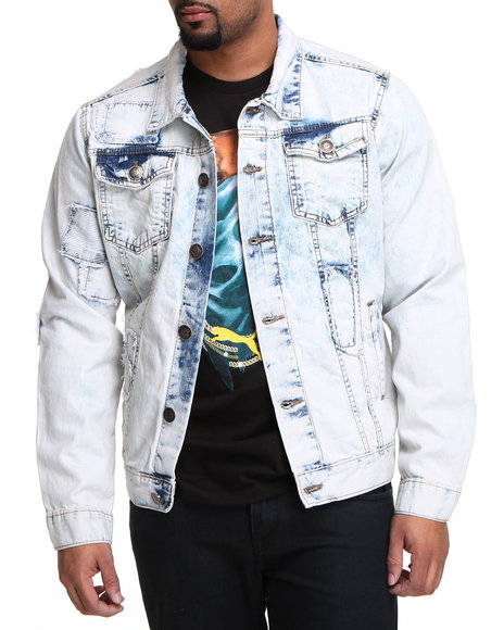 Basic Essentials - Men Light Wash Patch Denim Jacket