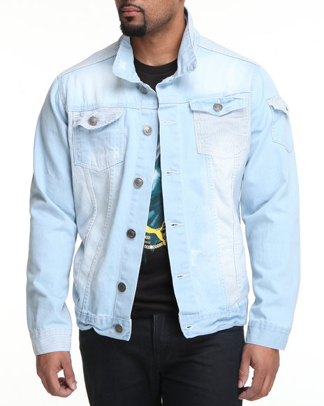 Basic Essentials - Men Light Wash Rail Denim Jacket