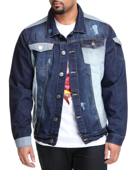 Basic Essentials - Men Dark Wash,Navy Rail Denim Jacket
