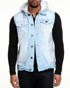 Vests - Removable Hood Denim Sleeveless Jacket
