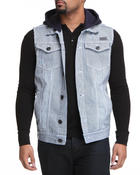 Basic Essentials - Removable Hood Railroad Denim Vest