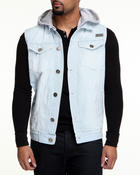 Vests - Removable Hood Railroad Denim Vest