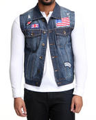 Vests - Flag Patch Denim Vest