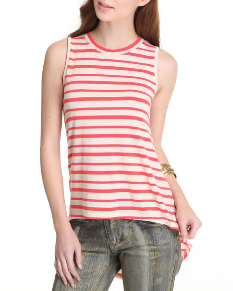 Basic Essentials - Women Beige,Red Hi Lo Stripe Tank Top