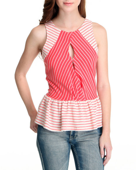 Basic Essentials Women Beige,Red Nautical Inspired Peplum Top
