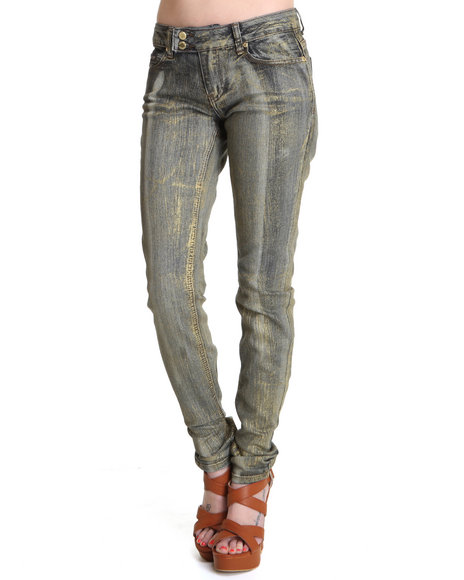 Rocawear Women Dark Wash, Gold It's Like A Jungle Skinny Jean