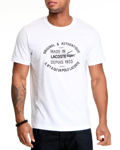 Lacoste White S/S Jersey Embroidered Croc Tee
