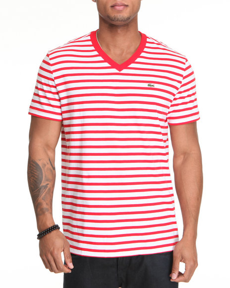 Lacoste Men Red S/S V-Neck Striped Tee