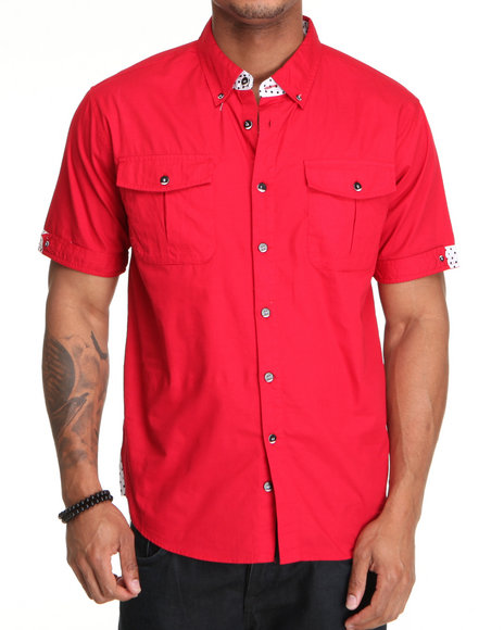Basic Essentials Men Red Roller Short Sleeve Woven