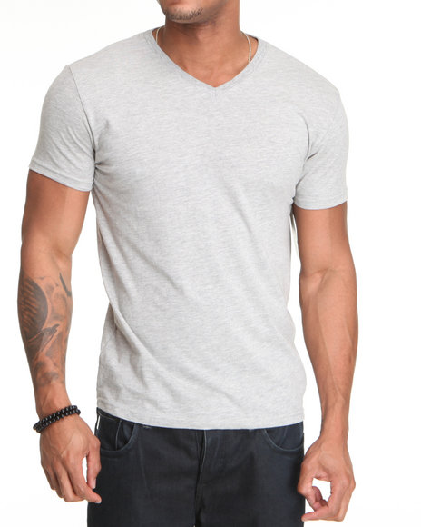 Basic Essentials Men Grey Solid Heathered V-Neck Tee