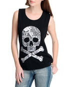 Women - Laced Skull Open Back Tank